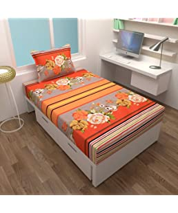 Fresh From Loom Cotton Floral Pattern Single Bedsheet with 1 Pillow Cover (60x90inch, Orange)