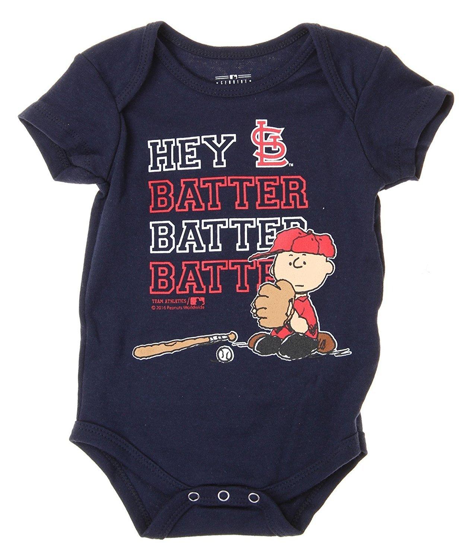 d1ca6f5b3254c Outerstuff MLB St. Louis Cardinals Baby Boys Infants Peanuts Love Baseball  Creeper, Navy