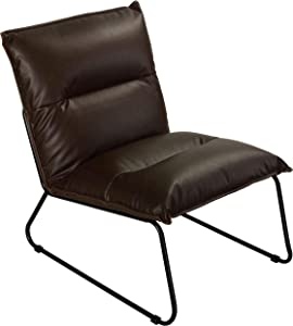 Cortesi Home Havana Accent Chair in Distressed Brown Faux Leather with Black Metal Legs