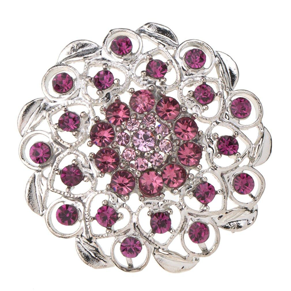 e184beab7 Amazon.com: YAZILIND Round Flower Shape Brooch Hollow Hearts Inlaid with Rhinestone  Alloy Pins Women Jewelry: Jewelry