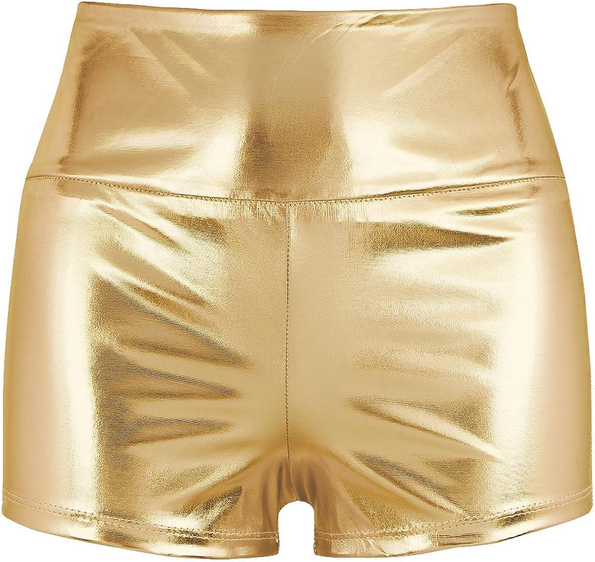 MSemis Shorts Wetlook Pantalones Cortos Push Up para Mujer Mini Pantalones de Cuero Hot Shorts Pants Color Metálico Traje Fiesta Pole Clubwear Dance