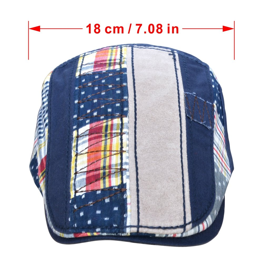 M MOACC Men Beret Hat Cotton Washed Snap Adjustable Newsboy Cabbie Cap (Blue)