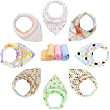 Baby Bandana Dribble Bibs with Snaps 8 Packs Super Absorbent Cotton Feeding Bibs Cute Baby Gift Set for Newborns Girls Boys Infants Toddlers by YOOFOSS