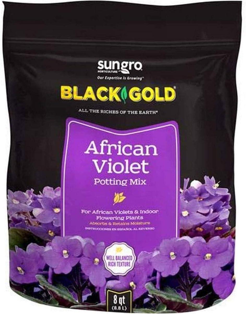 SunGro Black Gold Indoor Natural and Organic African Violet Potting Soil Fertilizer Mix for House Plants, 8 Quart Bag (10 Pack)