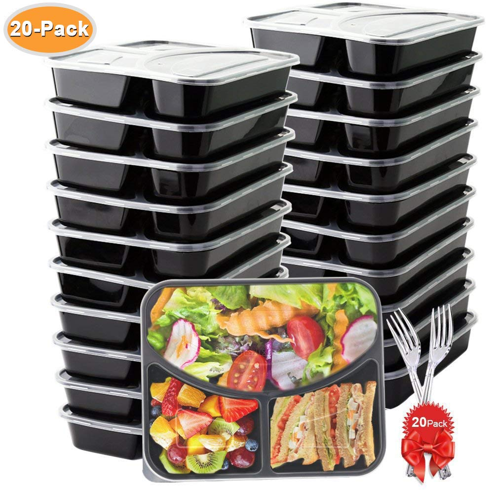 BASA Meal Prep Containers[20 Pack] 3 Compartment with Lids and Forks Bpa Free Portion Control Bento Box-Food Stackble-Microwave/Dishwasher / Freezer Safe, 32oz, Black