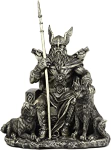 "Ebros Gift Norse Viking Mythology Odin The Alfather Sitting On A Throne with Two Wolf Dogs Statue Norselandic Folklore Thor Ragnarok Trilogy Wotan Decorative Figurine 10.5"" High"