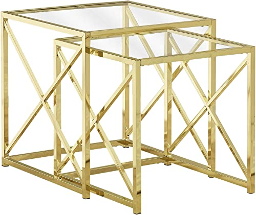 Monarch Specialties I NESTING TABLE, GOLD