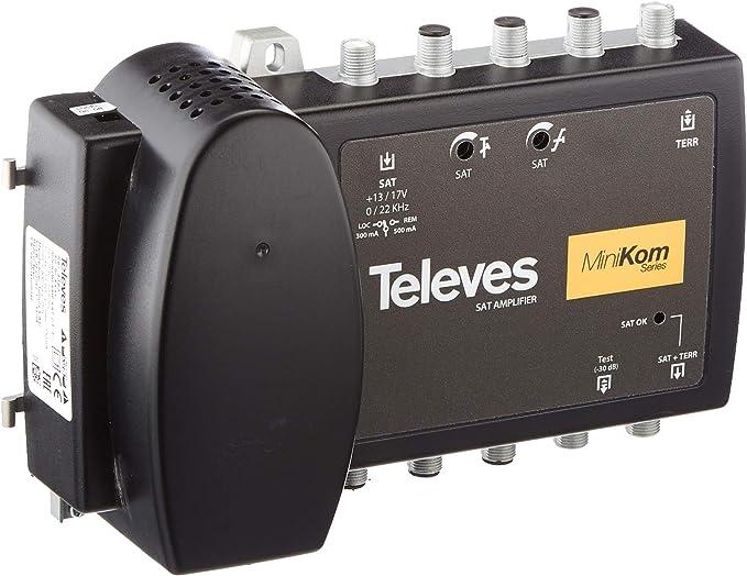 Televes 5363 - Amplificador Multibanda de 2 Entradas (VHF / UHF-SAT) para Sistemas SMATV 2150 mHz, Amplifica la Banda SAT y la Mezcla con la Banda ...