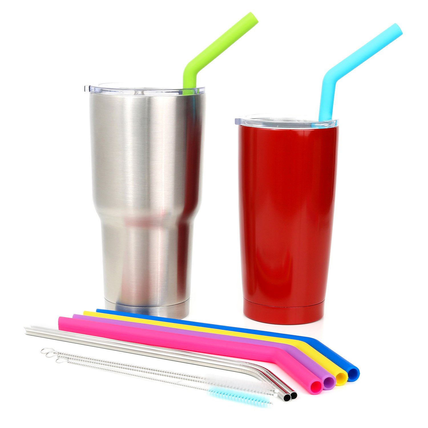 Big Silicone Straws for 30 oz Tumbler Yeti/Rtic Complete Bundle - Reusable Silicone Straws Set of 6 - Stainless Steel Straws Extra Long - Brushes and Storage Pouch Included by Kitchen Up (Image #4)