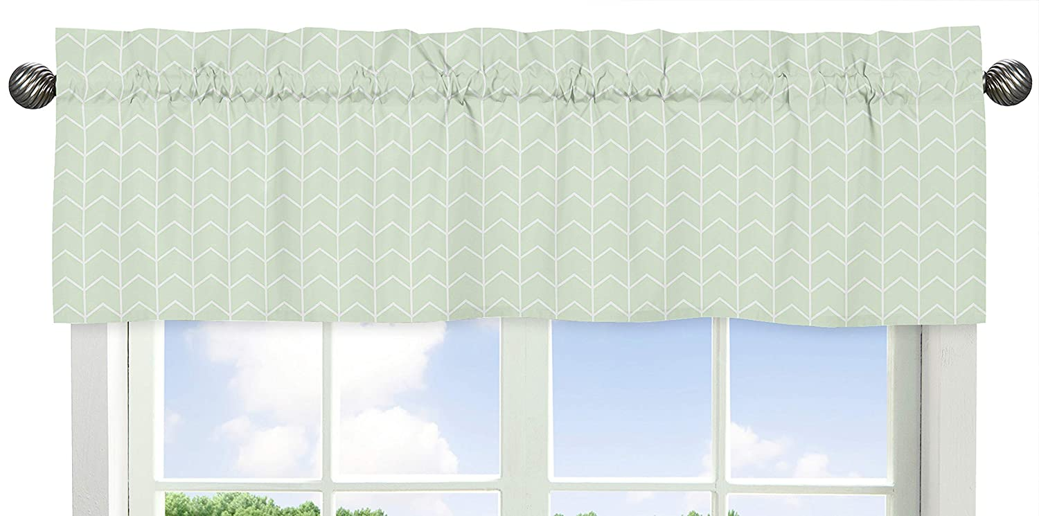 Sweet Jojo Designs Mint and White Chevron Arrow Window Treatment Valance for Watercolor Elephant Safari Collection