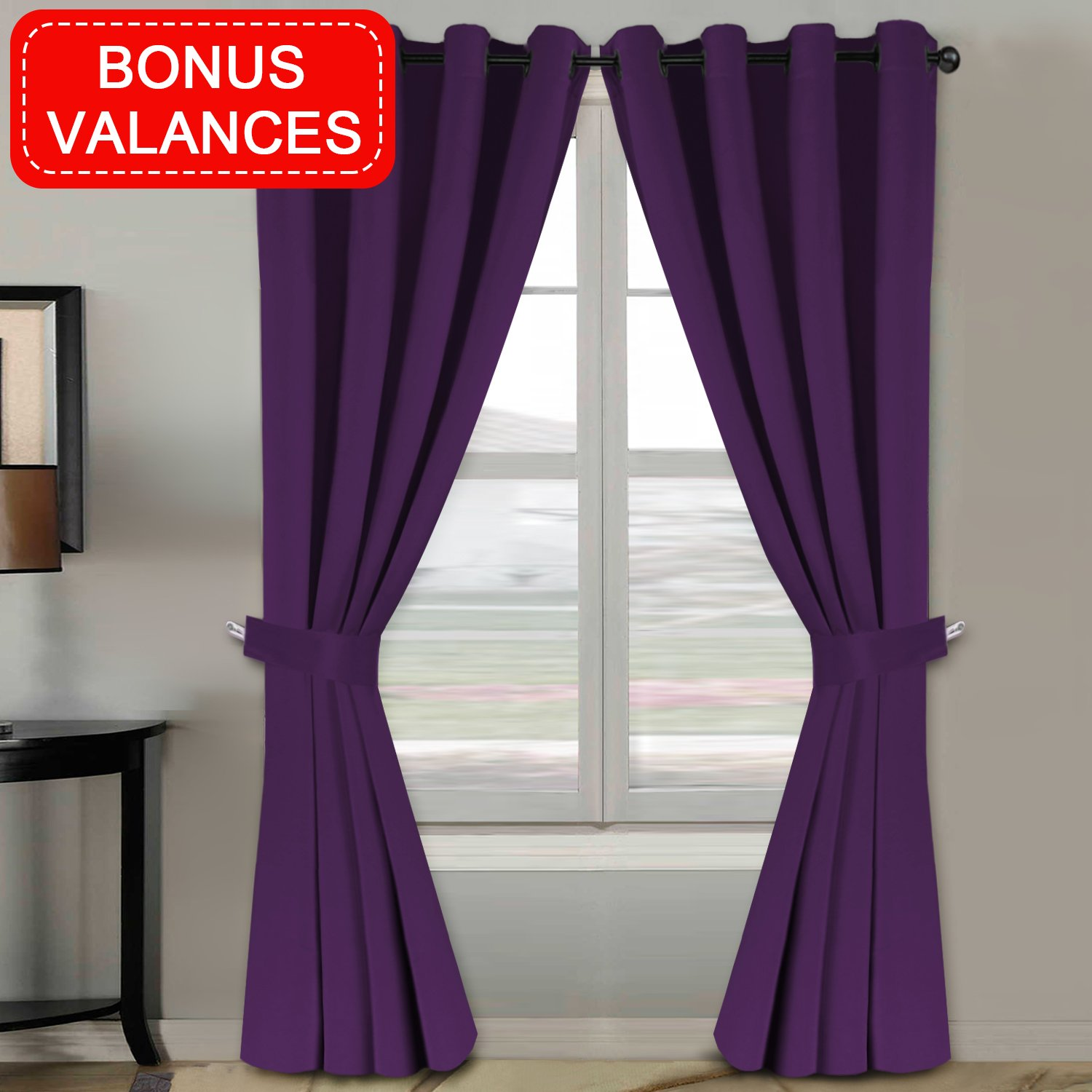H.VERSAILTEX Blackout Room Darkening Thermal Insulated Window Curtains Bedroom Antique Grommet Top Window Treatment Sets, Plum Purple, 2 Panels 84 inches Long, Bonus 2 Valances