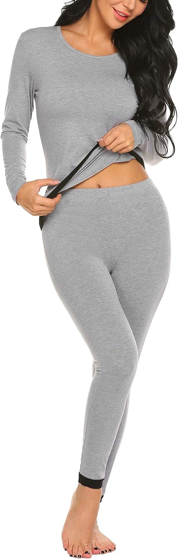 MAXMODA Conjunto t/érmico para Mujer Camiseta T/érmica Invierno Ropa Interior T/érmica Camiseta y Pantal/ón S-XXL