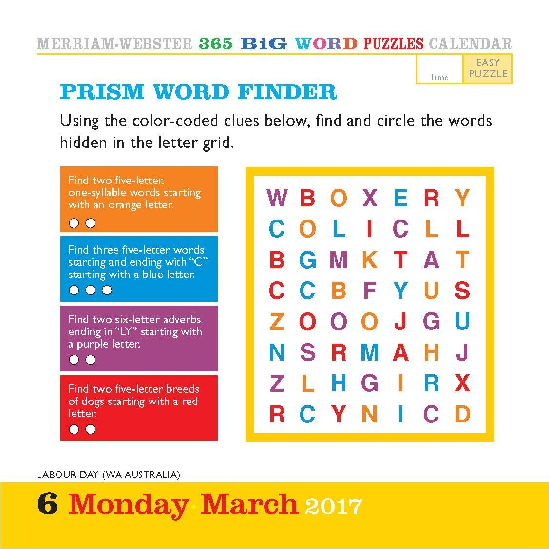 Big Word Puzzles Colour Page A Day Calendar 2017 Amazon