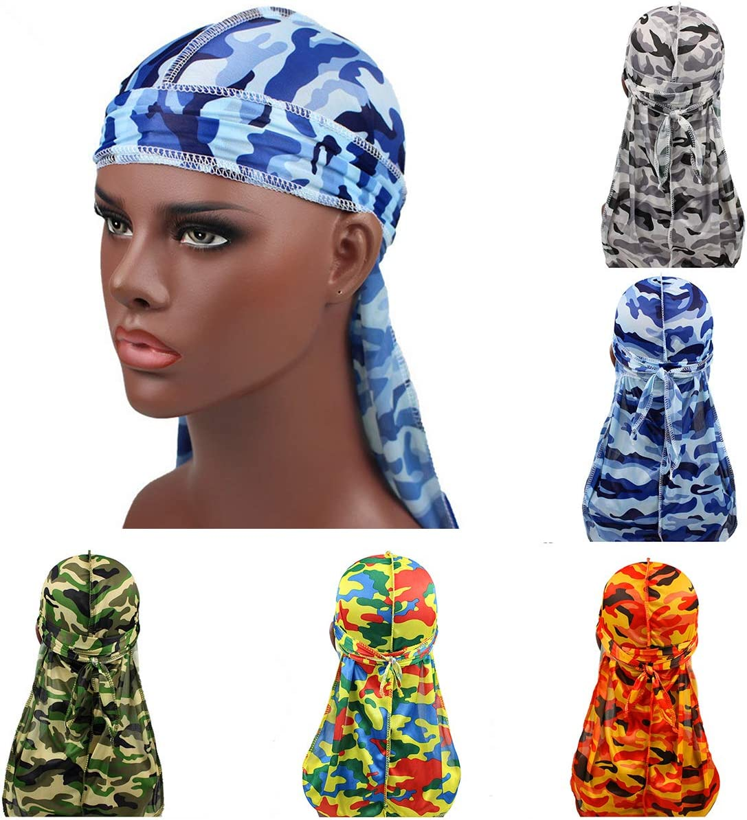 3pcs//Set Silky Soft Durag with Long Tail for Men 360 Waves Headwraps w// Wave Cap