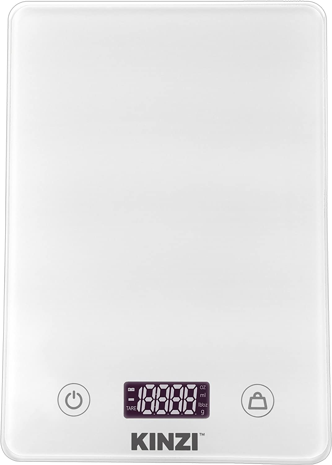 Kinzi Digital Touch Kitchen Scale (12 lbs Edition), Tempered Glass in Clean White