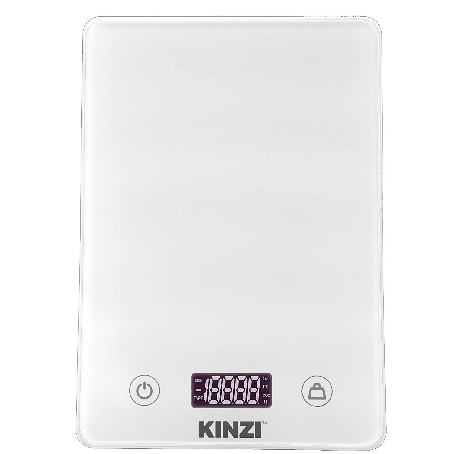 Kinzi Digital Touch Kitchen Scale (12 lbs Edition), Tempered Glass in Clean White COMINHKPR115347