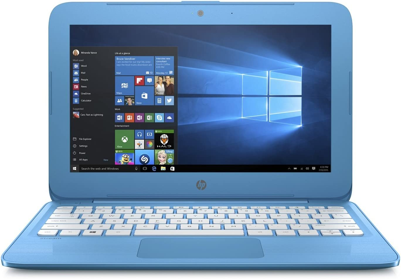 HP Stream 11 11.6 inch Flagship High Performance Laptop (Intel Celeron N3050 1.6GHz, 4GB RAM, 32GB Solid State Drive, Windows 10 Home) Blue (Renewed)