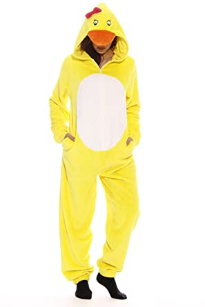 4bf1e21a5697 Amazon.com  Just Love Yellow Duck Adult Onesie Pajamas  Clothing