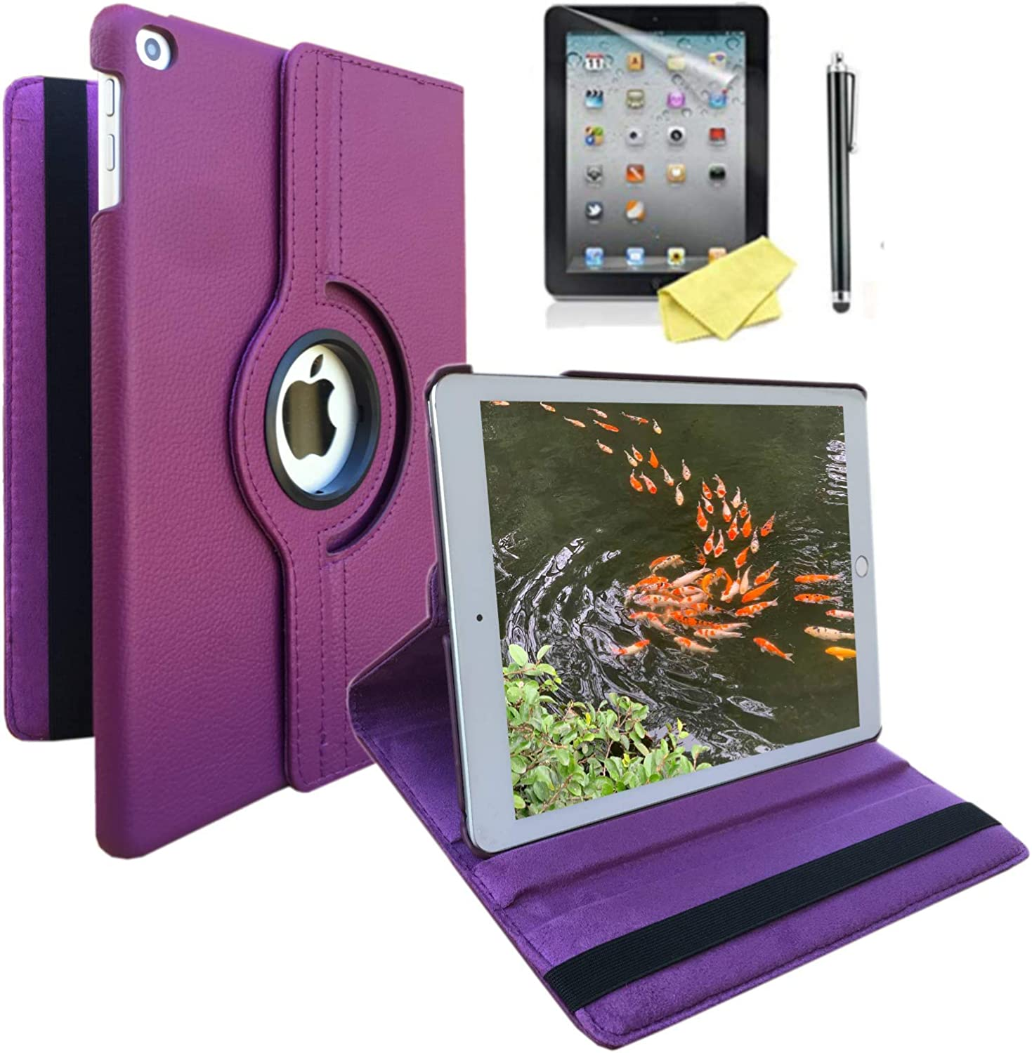 iPad Case Cover Rotating Stand with Wake Up/Sleep Function for Apple ipad 2nd 3rd 4th Generation Model A1395 A1396 A1397 A1416 A1430 A1403 A1458 A1460 or A1459 (Purple case)