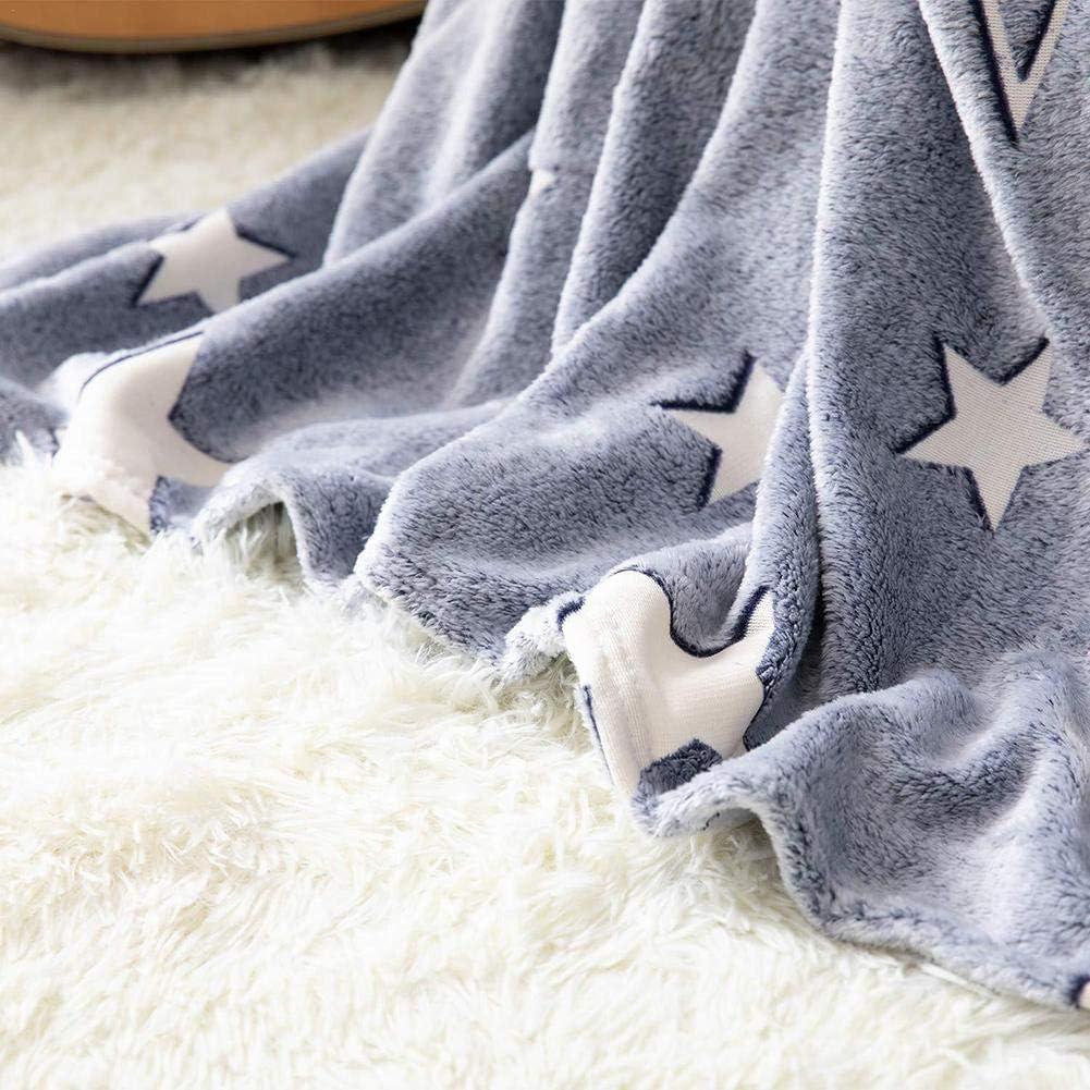 Kuscheldecke mit Leuchtend Sternen und Mond Decke Krabbeldecke Fleecedecke Babydecke