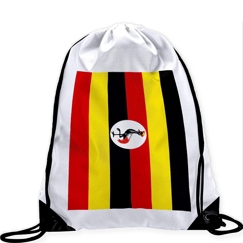 Large Drawstring Bag with Flag of Uganda - Many Designs - Long lasting vibrant image