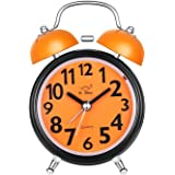 Alarm Clock for Heavy Sleepers, Twin Bell Cute Silent Movement Alarm Clock for Kids, Loud Analog Battery Operated Bedside and Desk Clock with Nightlight (Orange)