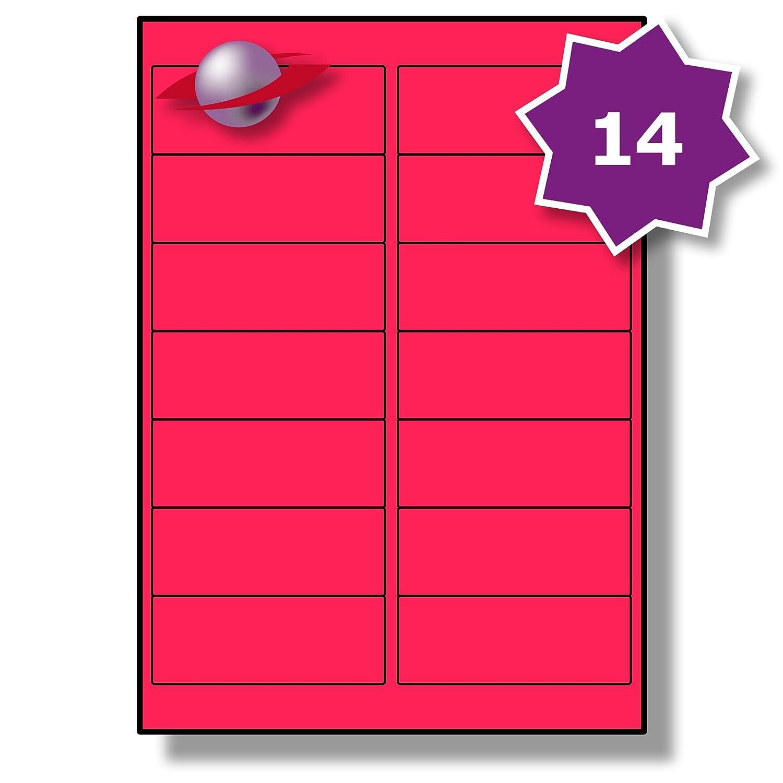 14 Par Hoja, 50 Hojas, Label 700 Etiquetas. Label Hojas, Planet® Etiquetas de Papel Fluorescente Rosado Mate para Impresoras Láser e inkjet 99.1 x 38.1mm, LP14/99 FLP. bacf10