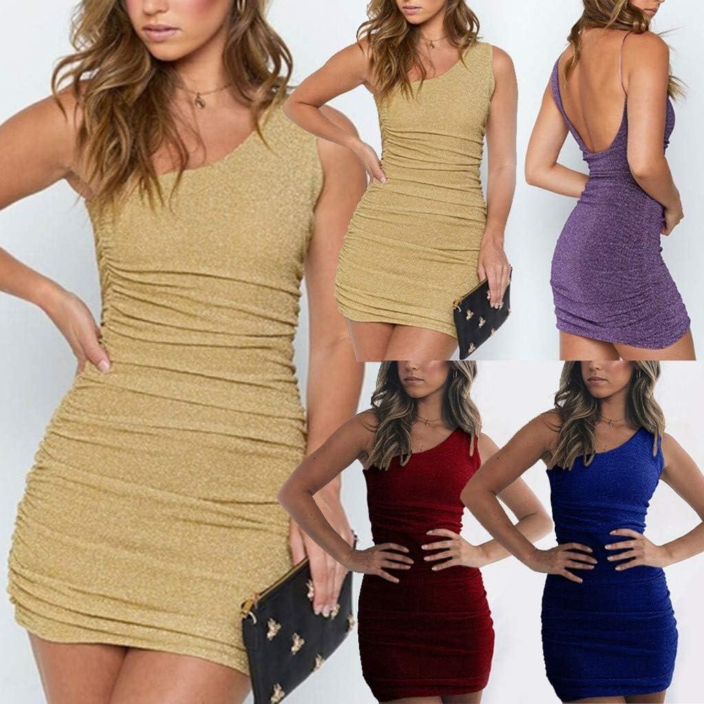 Hot!Womans Off Shoulder Backless with Pocket T-Shirt Dress Ninasill Solid Color Sleeveless V-Neck Mini Dress Casual Skirt