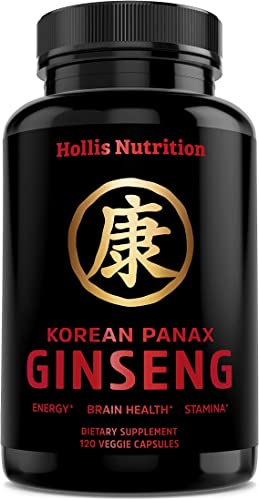 Korean Red Panax Ginseng 1500mg – 120 Vegan Capsules – 8 Ginsenosides – Root Extract Powder Supplement – High Strength for Energy, Immunity, Performance, Stamina Focus – Pills for Men Women