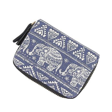 Moda Monedero Mujer Gran Capacidad Cartera Bolso de Señora Diseño Original Elegante 11*4*8cm -LATH.PIN (Azul-Elefante)