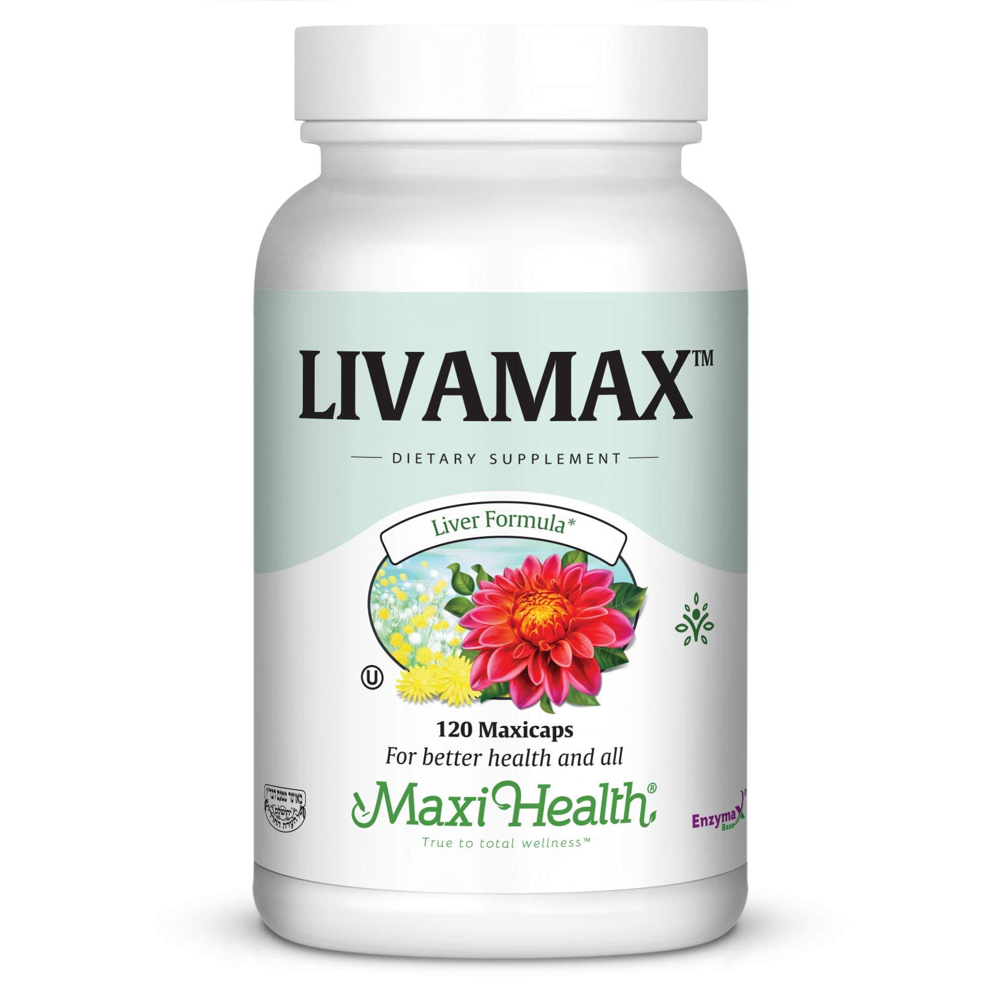Maxi Health Livamax - Liver Formula - with Milk Thistle and Dandelion Root - 120 Capsules - Kosher