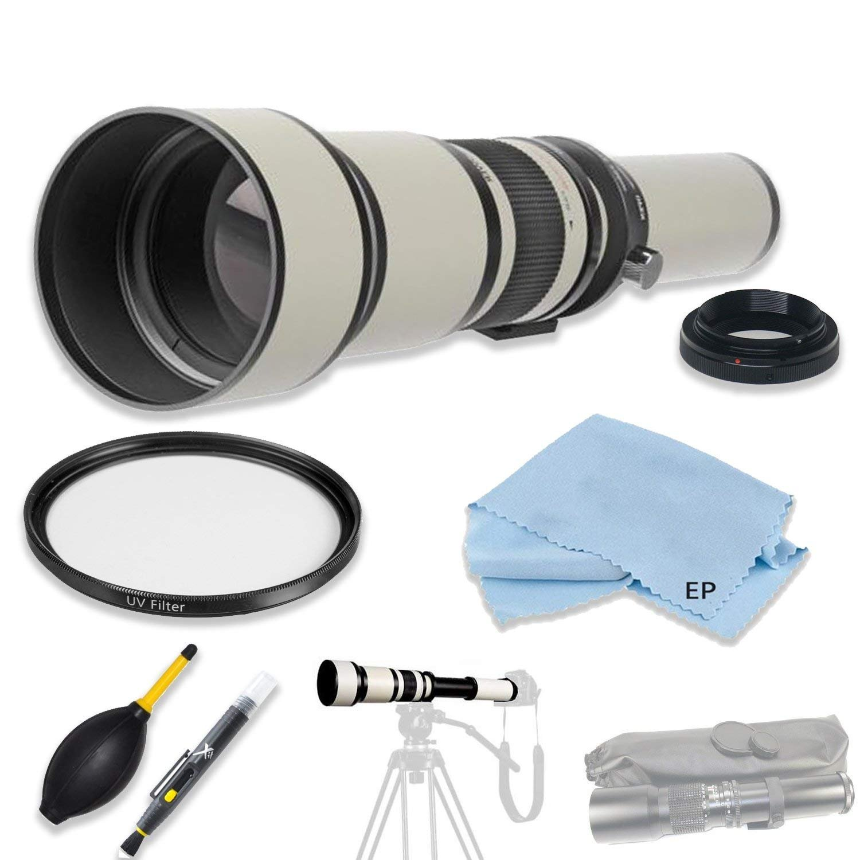 高解像度マルチコート650-1300mm F/8.0-16.0 プリセット望遠レンズ、Canon Rebel DSLRS用アクセサリー付き。EOS Rebel T2、T3、T5、T6、T3i、T5i、T6i、T7iなどに対応。   B07DXBYH9X