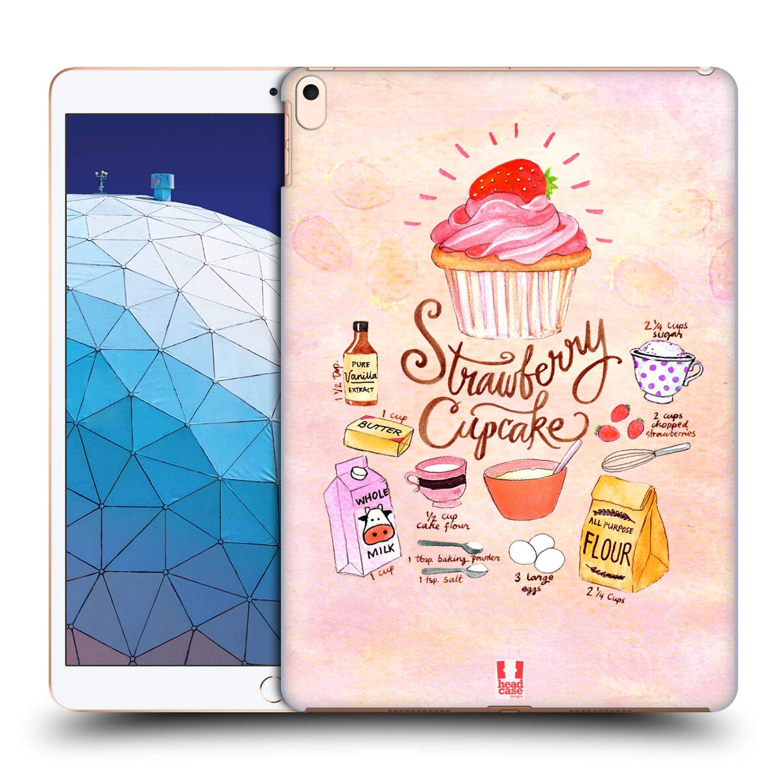 Head Case Designs Strawberry Cupcake Illustrated Recipes Hard Back Case Compatible for iPad Air (2019) by Head Case Designs