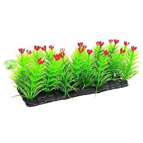 Steellwingsf Flor Artificial Césped Césped Peces Tanque Acuario Plástico Planta Agua Adornos