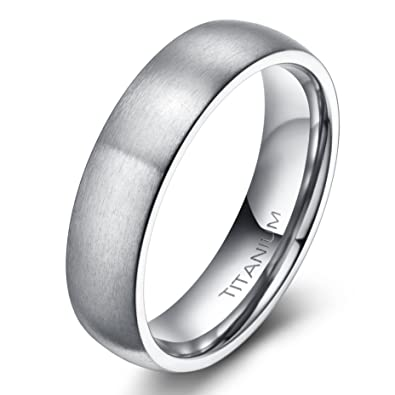 6mm8mm Mens Titanium Ring Brushed Dome Wedding Band Comfort Fit