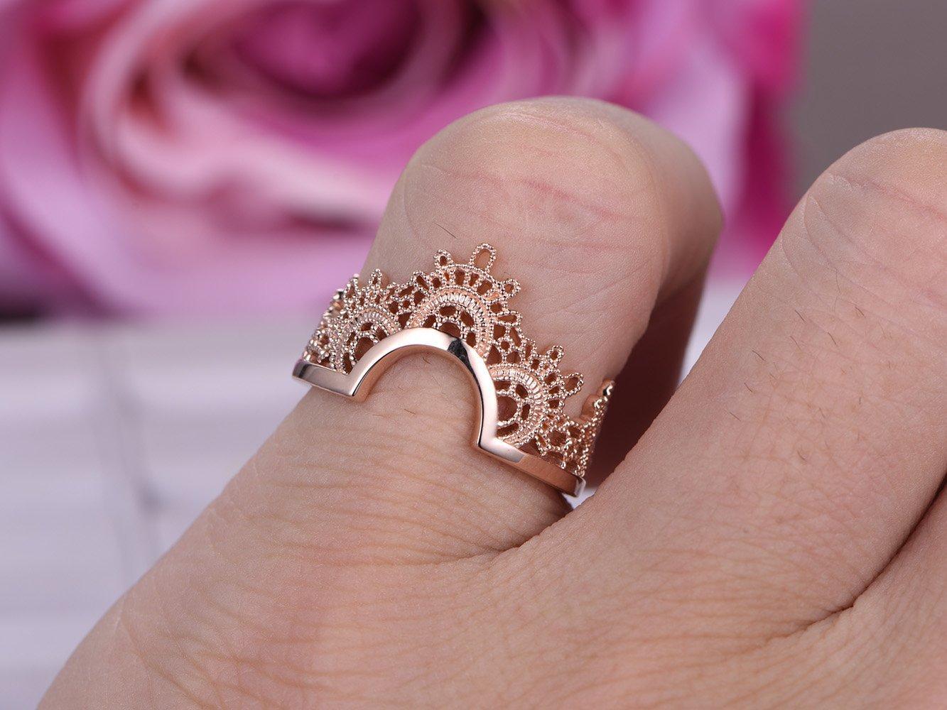 Amazon.com: Wedding Band Tiara Ring Guard 14K Rose Gold: Handmade