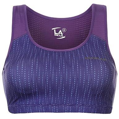 L.A. Gear - Sujetador deportivo - para mujer Multicolor Purple AOP