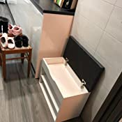 RICOO WM032-EC-A, Banco Zapatero, 60x42x30cm, Armario Interior con Asiento, Organizador Zapatos, Mueble recibidor, Perchero, Madera Roble marrón: Amazon.es: Hogar