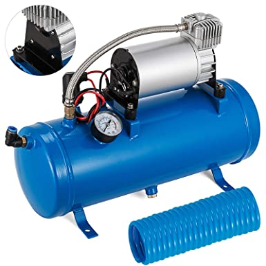 VEVO 12V DC Onboard Air Compressor System Blue 150 PSITrain Air Horn Kit For Train Horns Motorhome Tires Inflator Air Compressor with 6L Tank