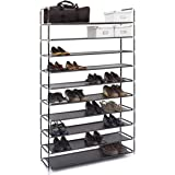 Relaxdays Étagère à chaussures XXL pour 50 paires meuble range-souliers 10 étages compartiments HlP:  rangement couloir cave 175,5 x 100 x 29 cm- noir