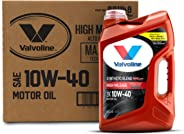 Valvoline  High Mileage with MaxLife  Technology SAE 10W-40 Synthetic Blend Motor Oil 5 QT, Case of 3