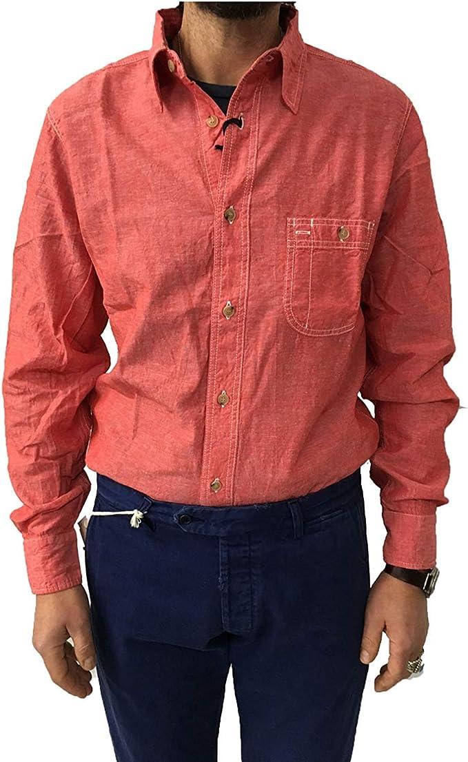 MANIFATTURA CECCARELLI Camisa de Hombre Chambray Rojo Modelo ...