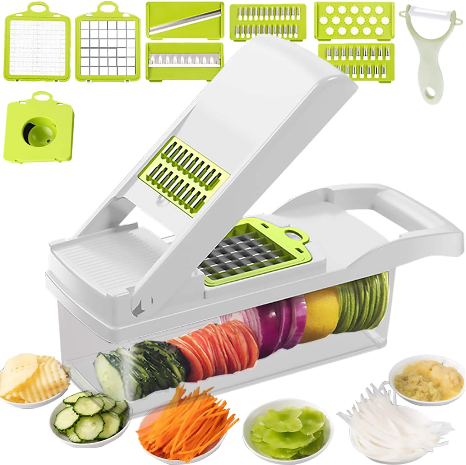 Onion Chopper Mutilfunctional Vegetable Chopper Dicer Slicer Cutter French Fry Cutter Food Chopper with Container 7 Blades