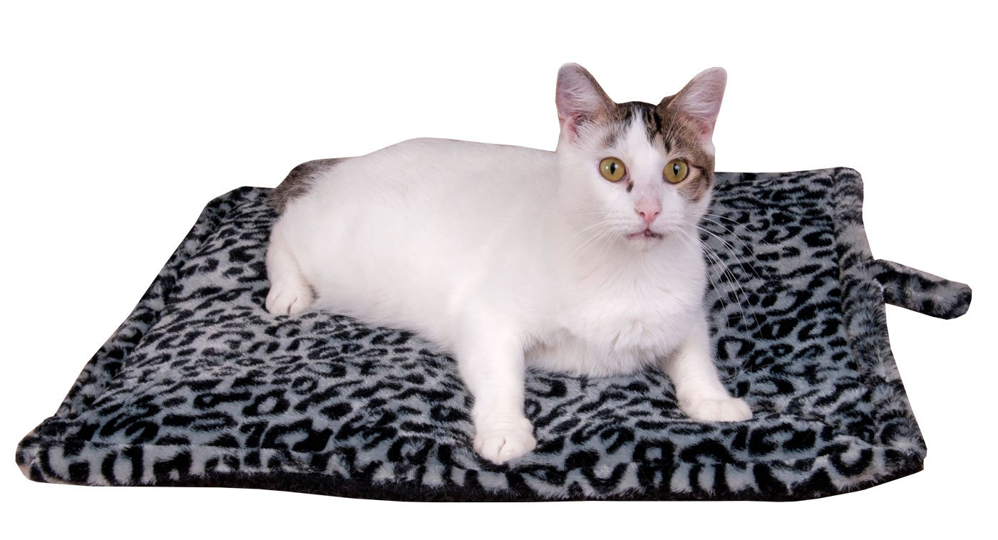 Downtown Pet Supply Thermal Cat Pet Dog Warming Bed Mat - GREY, (Leopard Motif) 22'' L x 19'' W, by