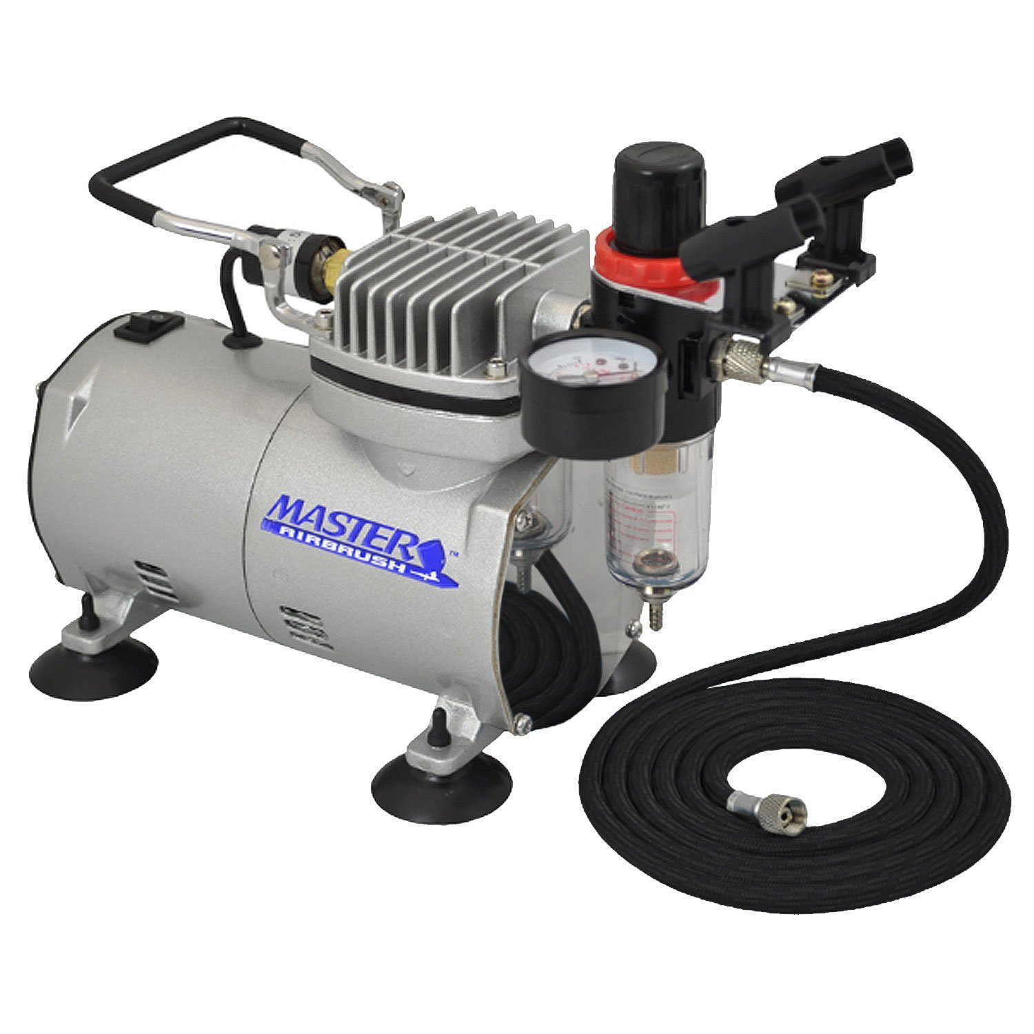 Master Airbrush High Performance Airbrush Air Compressor with Filter Black Air Hose /& Dual-brush Holder by Master Airbrush