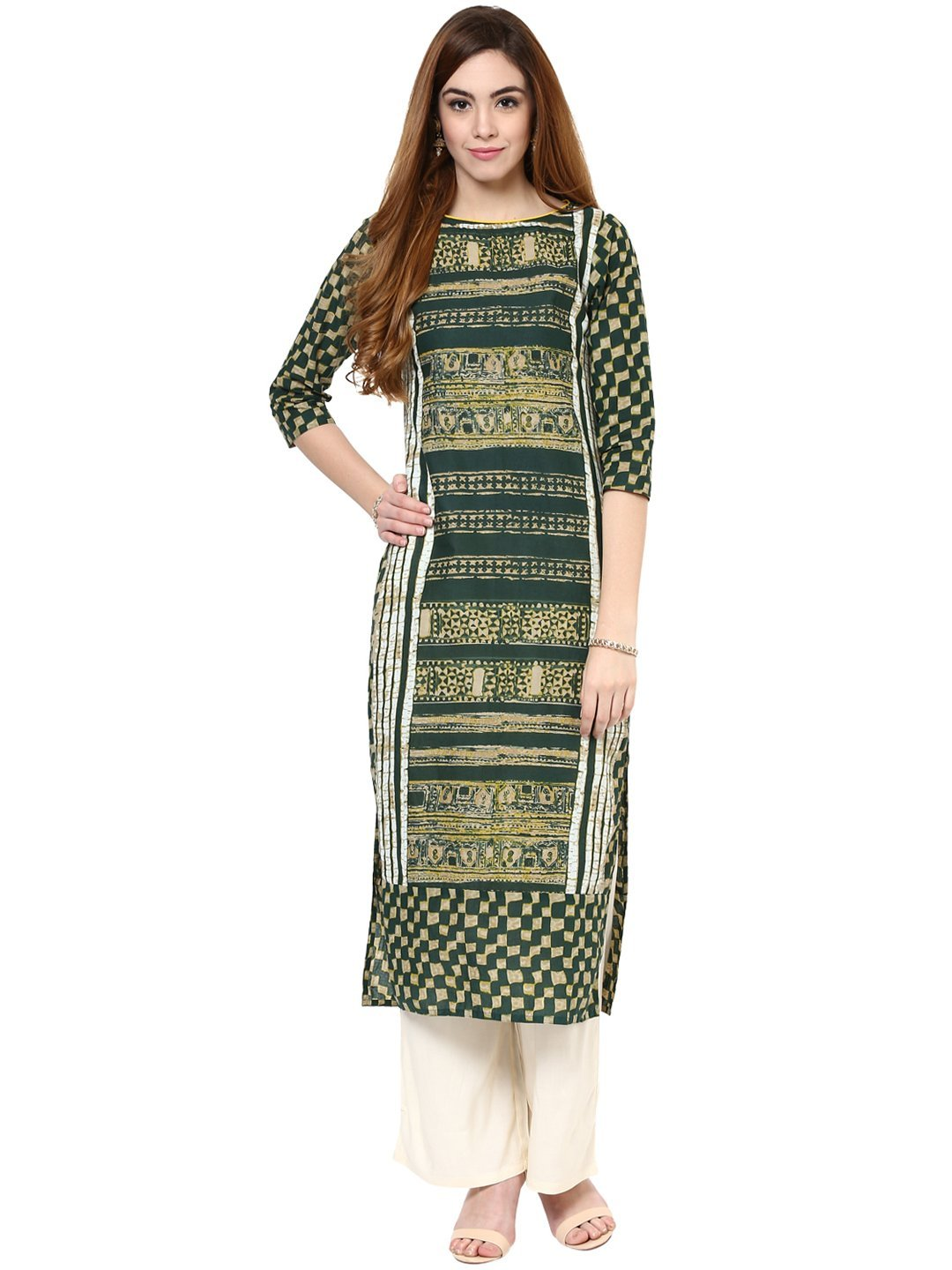 Jaipur Kurti Women Indian Casual Long Tunic Printed Straight Crepe Green Kurta & Off-White Palazzo by Jaipur Kurti