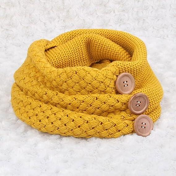 Tefamore Bufanda Mujer Chal De Cuello Caliente De Moda De Botón Otoño Invierno (Amarillo): Amazon.es: Ropa y accesorios