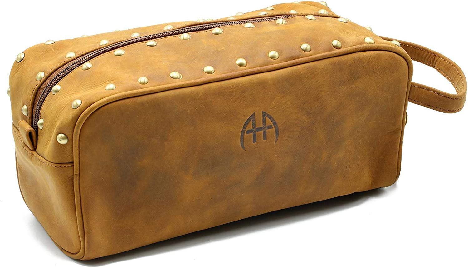 AHA Leather Toiletry Bag Dopp Kit for Men and Women Chic Vintage Design with Studs – Genuine Buffalo Leather Compact and Light, Ideal for Travel Complimentary Key Chain Included