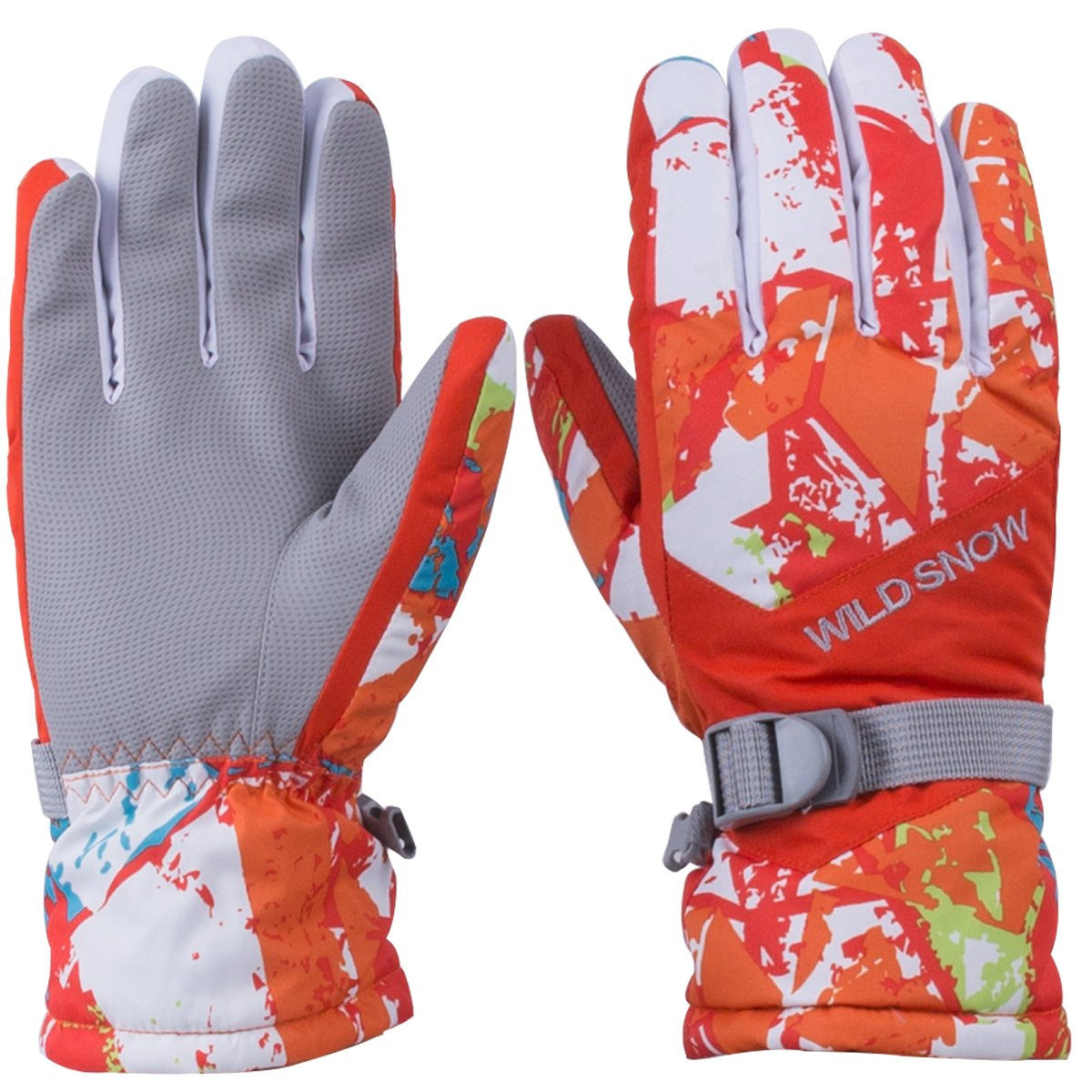 WILD SNOW Women\'s Winter Ski Gloves Colorful Winter Waterproof Windproof Gloves for Cycling Snowboarding and Working