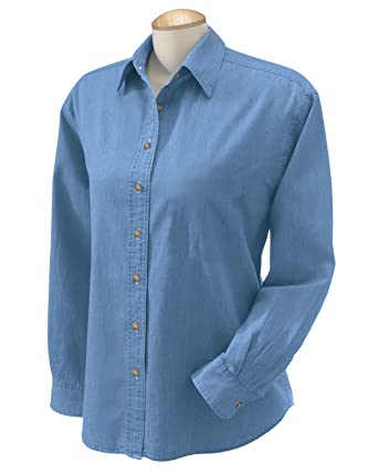 05e62406918 Harriton Ladies  6.5 oz. Long-Sleeve Denim Shirt - LIGHT DENIM - S